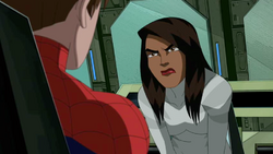 Ava angry at Spider-Man about not telling her and the others who Venom was