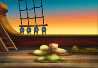 Jolly roger deck sleeping area sunrise