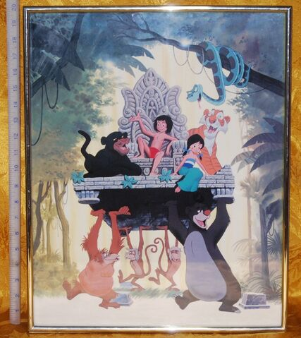 File:The Jungle Book Mowgli on the chair temple with Shanti Bagheera The Black Panther King Louie the Orangatain Shere Khan the tiger Kaa the Python and Baloo the bear.JPG