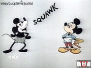 Color mickey interacting with b&w mickey