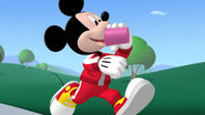 Mickey drinking while running