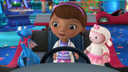 Doc, stuffy and lambie at a car game
