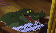 A crocodile playing the organ in an upbeat