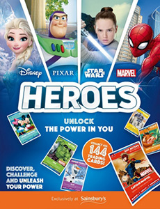 Marvel Star Wars Avengers Sainsburys Disney Heroes Cards 10 Packs Pixar