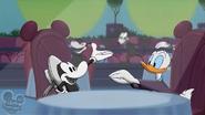 Donald applauds Dennis the Duck