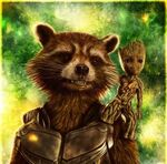 Groot-&-Rocket GreenBackground