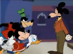 Mickey, Donald and Goofy scorlds Mortimer
