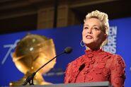 Sharon Stone speaks at Golden Globes
