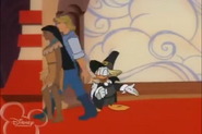 Pocahontas and John Smith entering House of Mouse