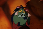 Pumbaa's face turning green