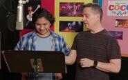 Lee Unkrich supervises Anthony Gonzalez's recording session