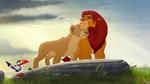 Simba and Nala nuzzle