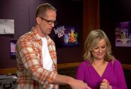 Pete Docter supervising Amy Poehler recording