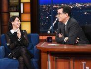 Constance Zimmer visits Stephen Colbert