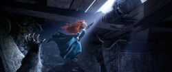 Merida escaping from Mor'du