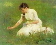 1880s Helene Schjerfbeck (1862-1946) Picking Bluebells