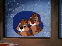 Chip 'n' dale looking outside the window