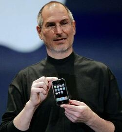 Steve Jobs with an iPhone