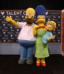 Homer Marge and Maggie Simpson at D23 Expo