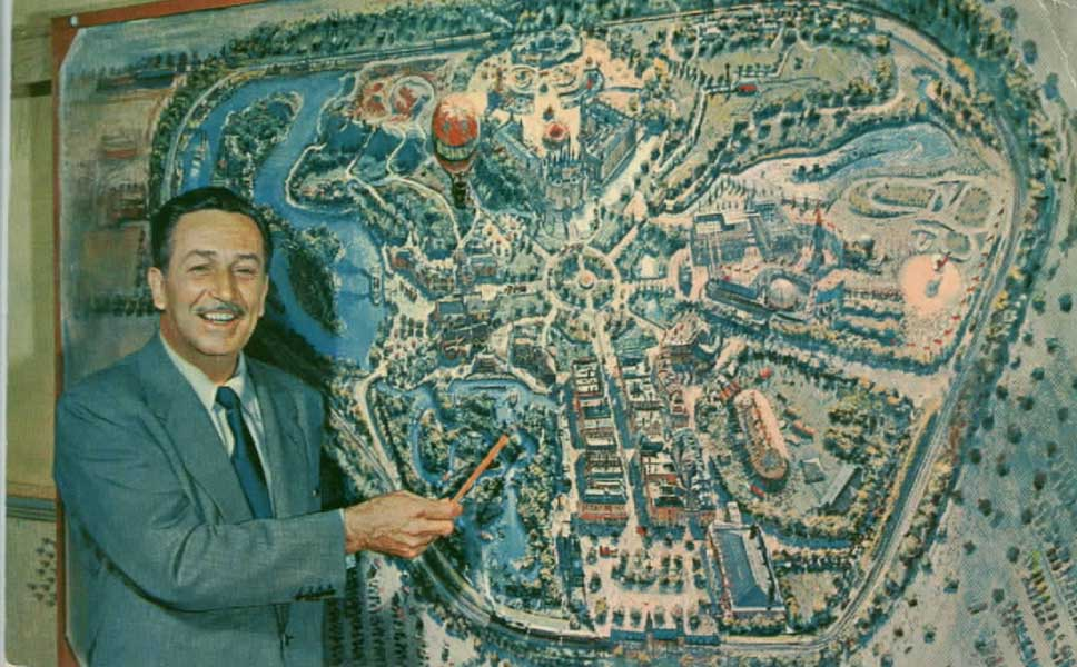 Image result for walt disney and map of disneyland