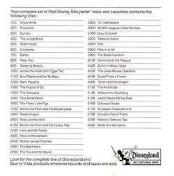 Disney Storyteller List