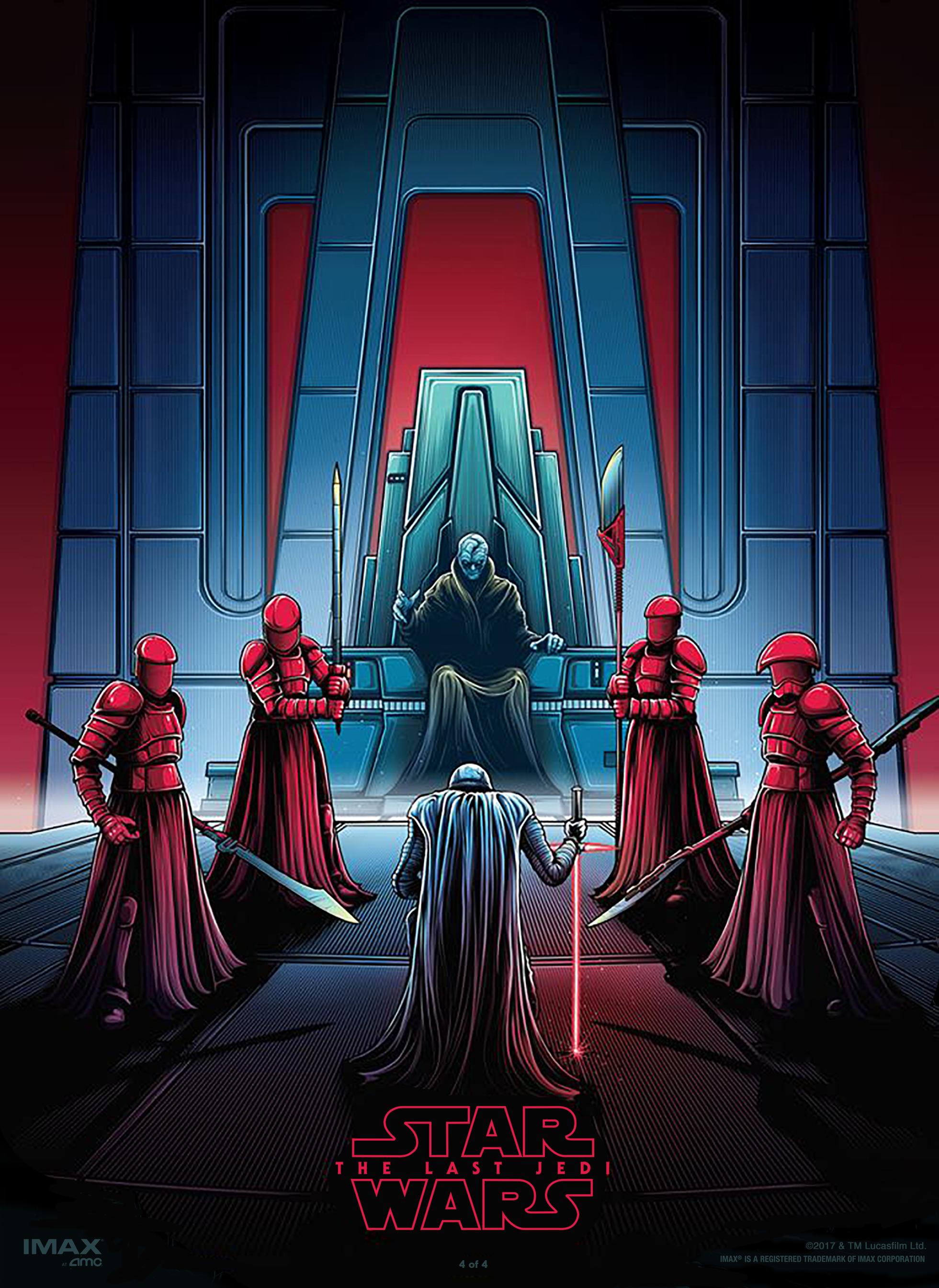 The Last Jedi Dan Mumford Imax Posters 4 Of Kylo Ren And Snoke With Praetorian Guard