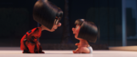 Jack-Jack demonstrates one of his powers to Edna