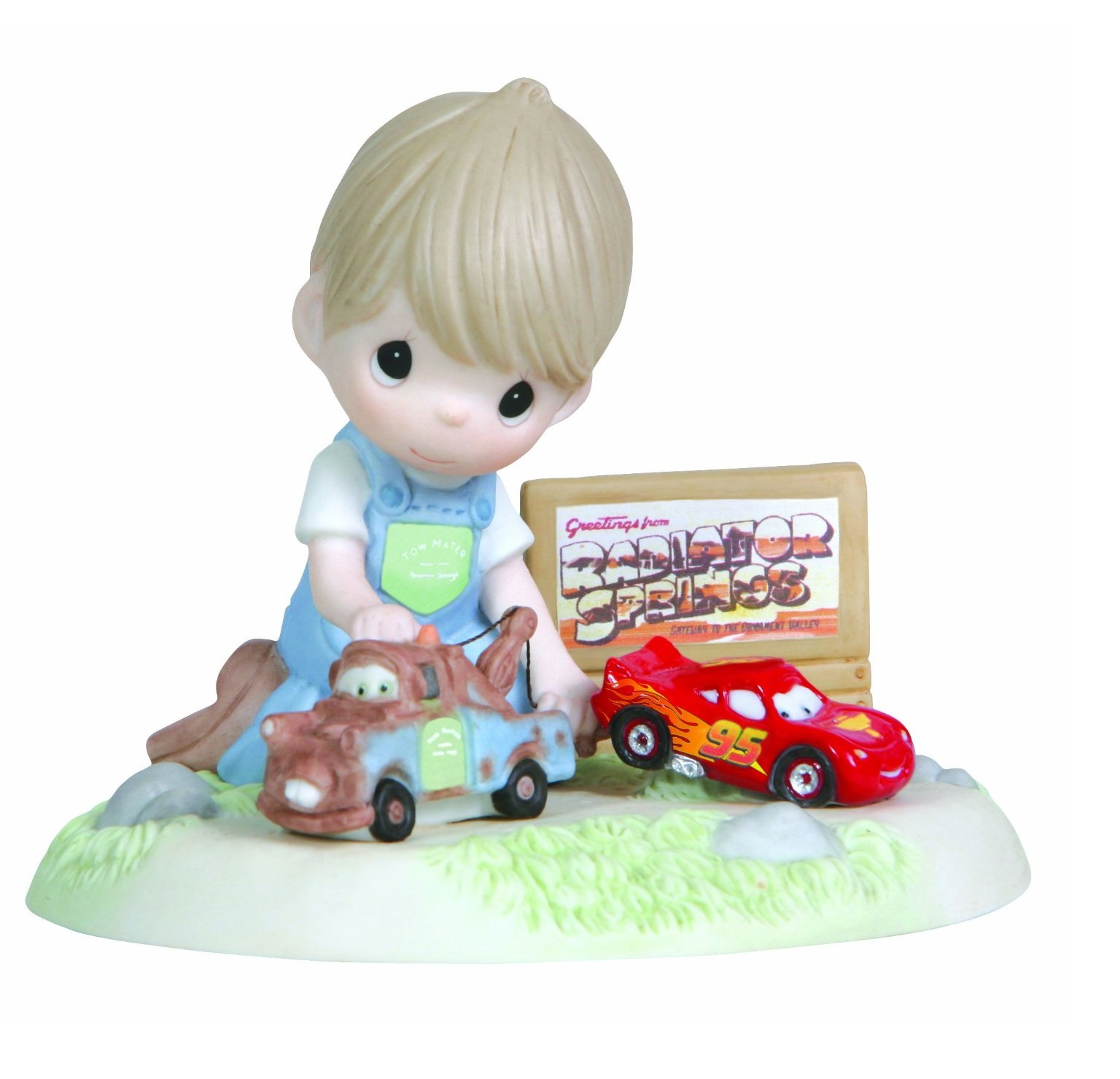 Image - Precious Moments Disney Boy Playing Cars Mater and Lightning ...