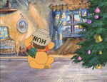 Winnie the Pooh trys to get the honeypot off his head
