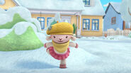Lambie dancing in the snow