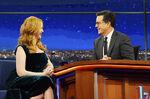 Christina Hendricks visits Stephen Colbert