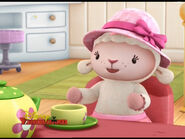 Lambie at tea party
