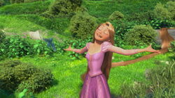 Rapunzel excited by her freedom