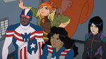 Marvel Rising Secret Warriors - Patriot, Squirrel Girl, Tippy-Toe, America Chavez and Quake