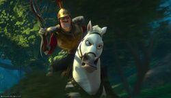 Der Anführer der königlichen Wachen reitet auf Maximus