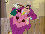 Goofy taking out a cigar