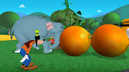 Elephant pushes two oranges