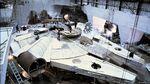 Millennium Falcon under construction for The Empire Strikes Back