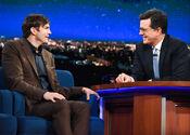 Ashton Kutcher at late night Stephen Colbert