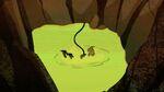 Kim splashes into slime pit