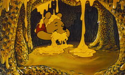 Winnie the Pooh is eating up all the honey