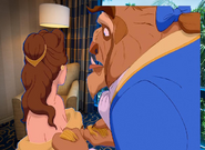 Belle is look there at the Beast in the Disneyland Hotel Room