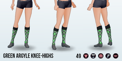 CafeRaffle - Green Argyle Knee-Highs
