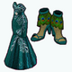 PeacockSpreeSpin - Peacock Green Gown and Feather Heels