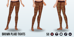 CafeRaffle - Brown Plaid Tights