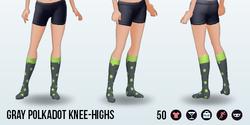 CafeRaffle - Gray Polkadot Knee-Highs