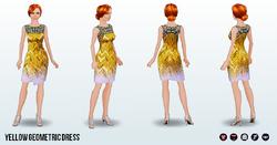 CafeRaffle - Yellow Geometric Dress