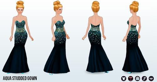 FashionWeek - Aqua Studded Gown