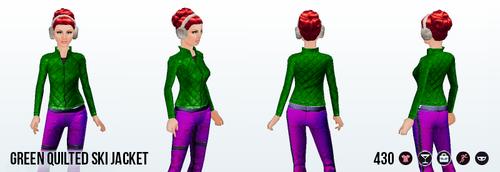 SkiTrip - Green Quilted Ski Jacket