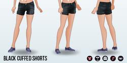 CafeRaffle - Black Cuffed Shorts